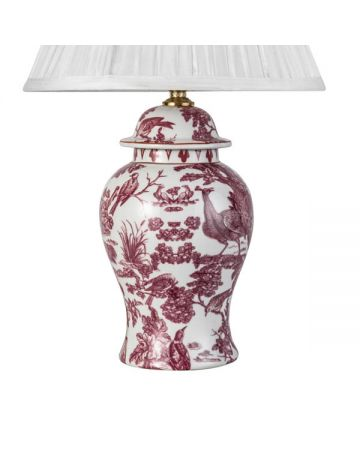 Raspberry Peacock Toile Small Lamp Base