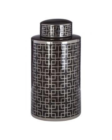 Sedona Small Ceramic Jar - Black & Silver