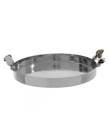 Montana Round Tray - Hammered Silver
