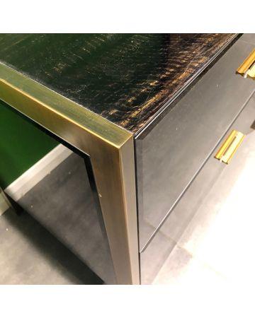 Ettore 2 Drawer Chest - Brass Frame & Eucalyptus Print