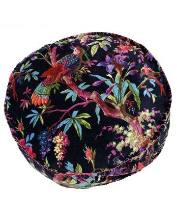 Chinoiserie Round Cushion - Black