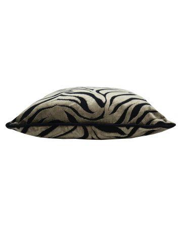 Zebra Earth Velvet Square Cushion