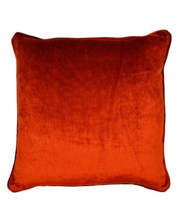 St Moritz Velvet Square Cushion - Brick