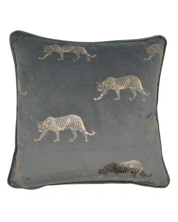 Stalking Leopard Cushion - Grey