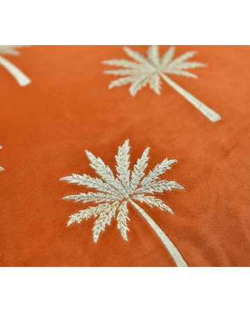 Palm Court Embroidered Cushion - Rust