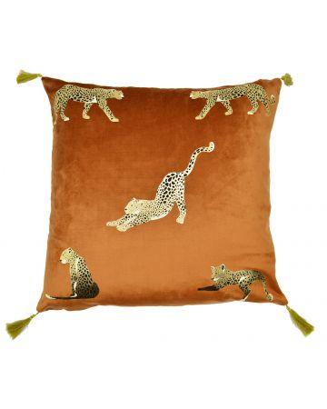 Resting Leopard Tassel Cushion - Rust