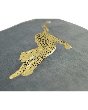 Resting Leopard Tassel Cushion - Grey