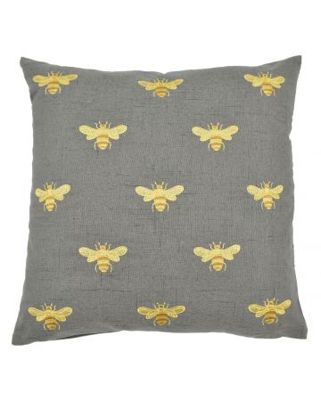 Bee Embroidered Cushion - Natural