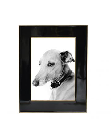 Black Enamel Photo Frame with Gold Border - 5x7