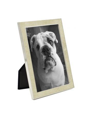Cream Faux Shagreen & Nickel Frame - 5x7