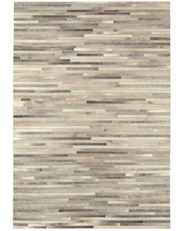 Cordoba Cow Hide Rug-Light Grey Stripe