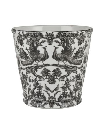 Charcoal Peacock Toile Planter
