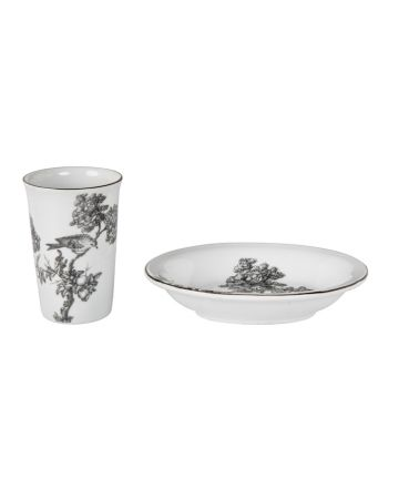 Charcoal Peacock Toile Beaker & Soap Dish
