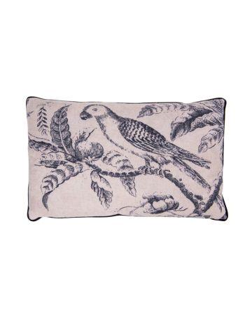 Blue Parrot Toile Cushion - Rectangular