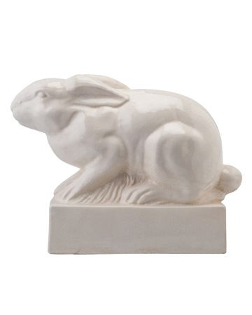 Buckthorn Oversize Ceramic Rabbit on Plinth