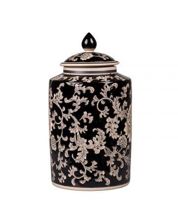 Mandalay Cylinder Jar - Black