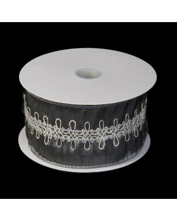 Ribbon-Silver & Wht Embroidery