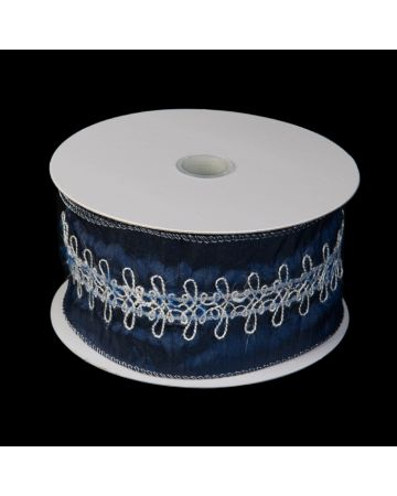 Ribbon - Blue & Silver Embroidery