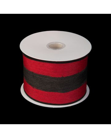 Ribbon - Red & Black Linen