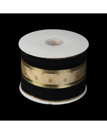 Ribbon - Black Velvet & Gold Stripe