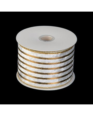 Ribbon - White on Gold Stripe