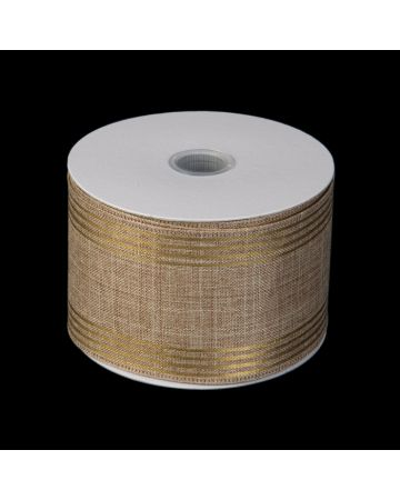 Ribbon - Linen & Gold Stripe