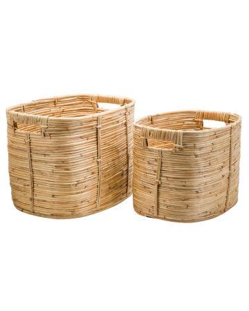 Safari Set 2 Rect Cane Baskets