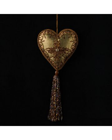 Olive Heart Embroidered Decoration with Tassel
