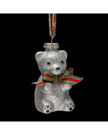 Silver Teddy Bear Decoration