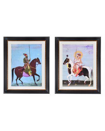Mughal Emperor Aurangzeb & Mughal Emperor Shah Jahan Set of 2 Framed Prints