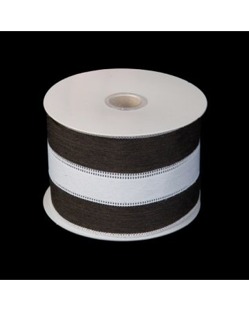 Ribbon - Black & White Linen