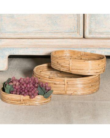 Safari Set 3 Oval Cane Baskets