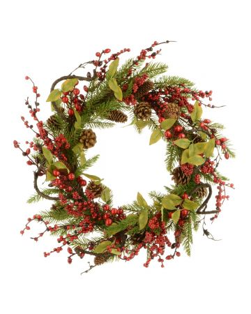 Twig, Pine & Berry Wreath