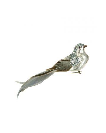 Metallic Bird Clip Decoration - Silver