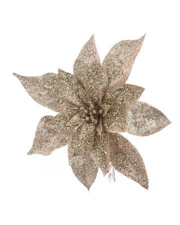 Glitter Poinsettia Clip