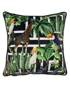 Tropical on Greek Key Cushion