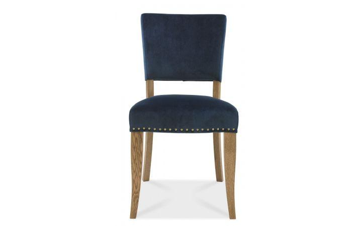 Bordeaux Pair of Oak Dining Chairs - Blue Velvet