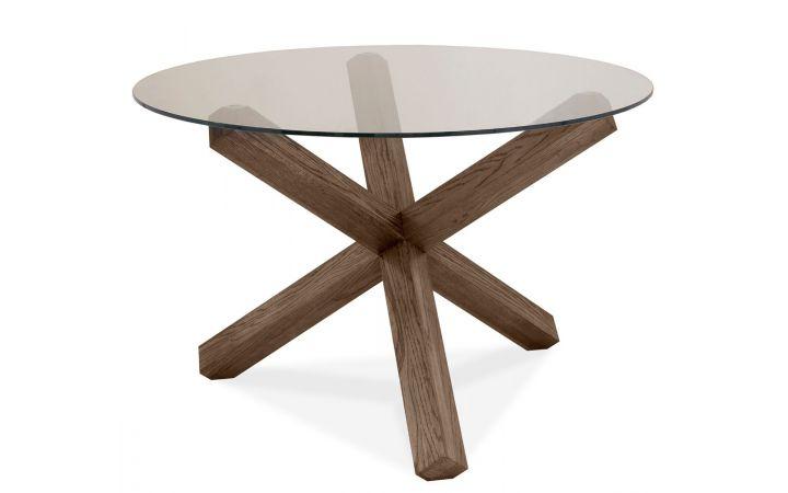 Rivoli Round Glass Dining Table - Dark Oak