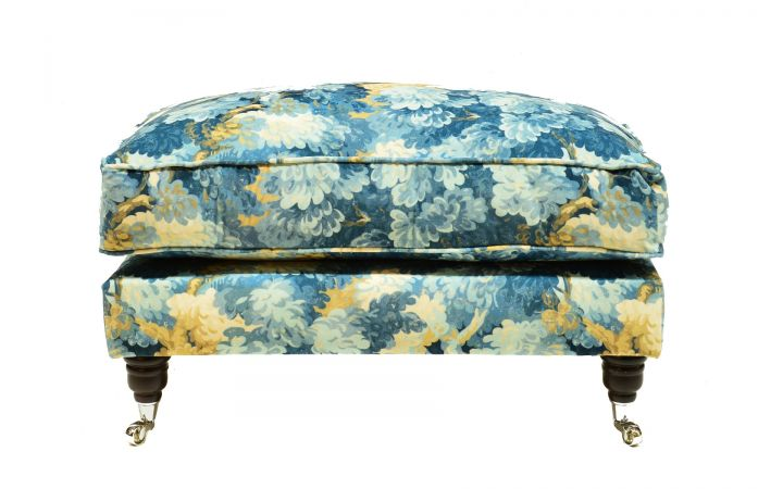 Buckingham Footstool - 'English Oak' Cornflower