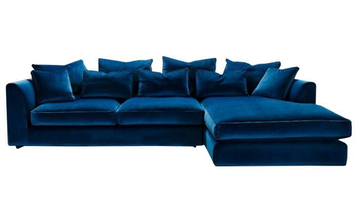 Metropolitan Large Chaise sofa LHF - 'Dusk' Indigo