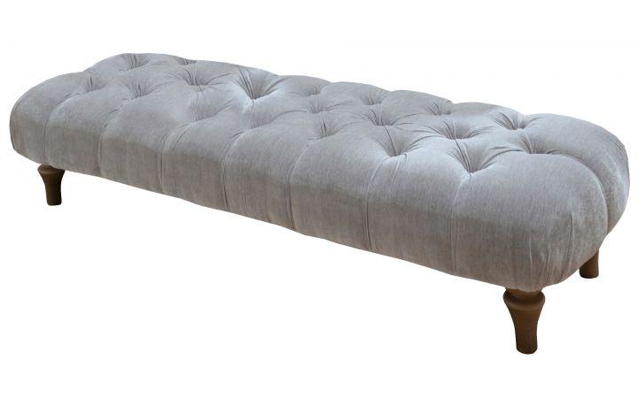 Directoire Large Bench Stool - 'Blenheim' Silver