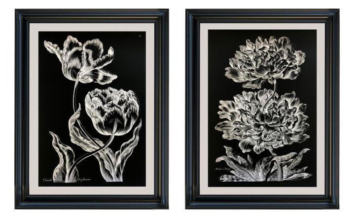 Double Oriflamme & Heroic Peony Set of 2 Prints - John Hill
