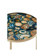 Pietra Round Agate Table-Blue