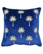 Palm Court Embroidered Cushion - Sapphire